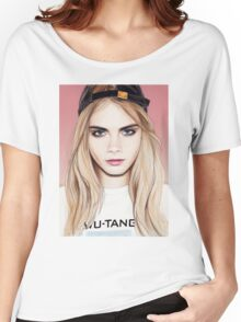 Cara Delevingne pencil portrait fanart Women's Relaxed Fit T-Shirt