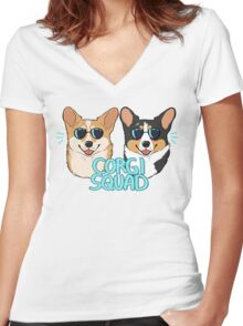 CORGI SQUAD - (The Doctor and the Queen) Women's Fitted V-Neck T-Shirt