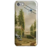 A Formal Garden with Dino Rider and Biplane iPhone Case/Skin