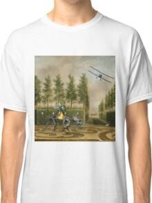 A Formal Garden with Dino Rider and Biplane Classic T-Shirt