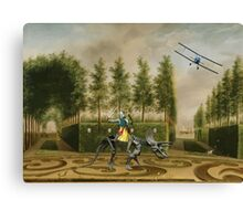 A Formal Garden with Dino Rider and Biplane Canvas Print