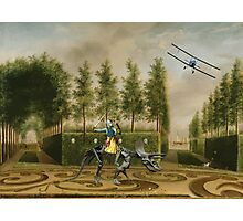 A Formal Garden with Dino Rider and Biplane Photographic Print