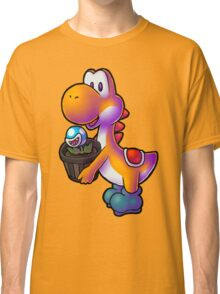 Orange Yoshi with Potted Piranha Plant Classic T-Shirt