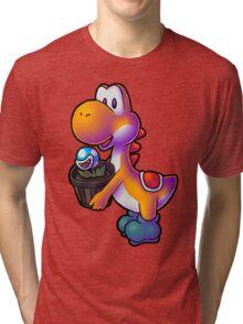 Orange Yoshi with Potted Piranha Plant Tri-blend T-Shirt