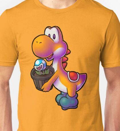 Orange Yoshi with Potted Piranha Plant Unisex T-Shirt