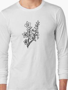 Cherry Blossoms Black & White  Long Sleeve T-Shirt