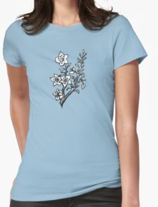Cherry Blossoms Black & White  Womens Fitted T-Shirt