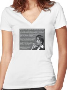 J. Krishnamurti Quote on Violence Women's Fitted V-Neck T-Shirt