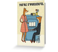 you're swonderful vintage song piano music foxes in love cute illustration Greeting Card