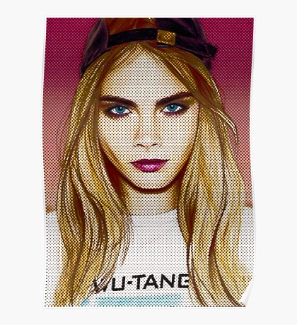 Cara Delevingne pencil portrait 4 Poster