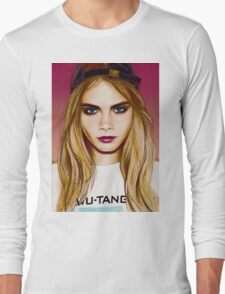 Cara Delevingne pencil portrait 4 Long Sleeve T-Shirt