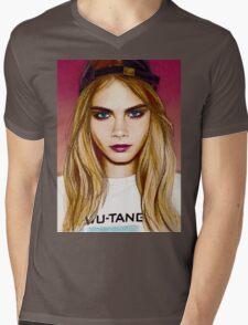 Cara Delevingne pencil portrait 4 Mens V-Neck T-Shirt