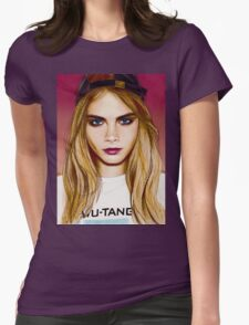 Cara Delevingne pencil portrait 4 Womens Fitted T-Shirt