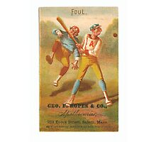 "Vintage Baseball Card ""Foul""  Photographic Print"