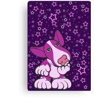Pondering English Bull Terrier Pinks Canvas Print