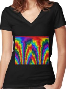 Flaming Rainbow  Women's Fitted V-Neck T-Shirt