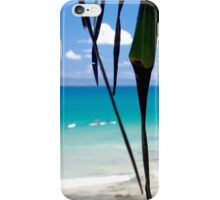 Blurred vision from under the Pandanus trees : Ocean blues and greens  iPhone Case/Skin