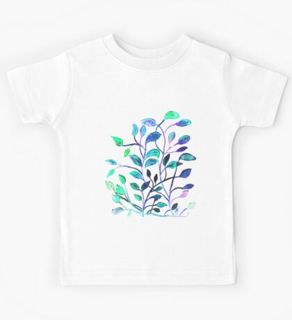 Shiny Silver Teal Leaves Kids Tee