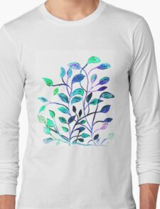 Shiny Silver Teal Leaves Long Sleeve T-Shirt