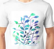Shiny Silver Teal Leaves Unisex T-Shirt