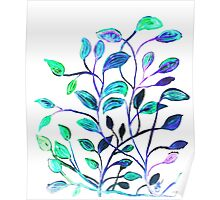 Shiny Silver Teal Leaves Poster