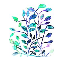 Shiny Silver Teal Leaves Photographic Print