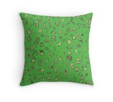 Inventory Items on Green  Throw Pillow