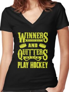 Hockey is for Winners Women's Fitted V-Neck T-Shirt