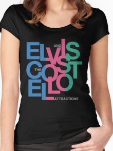 Elvis Costello (Black) Women's Fitted Scoop T-Shirt