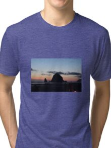 Haystack Rock at Cannon Beach, OR Tri-blend T-Shirt