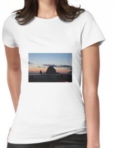 Haystack Rock at Cannon Beach, OR Womens Fitted T-Shirt