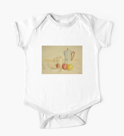 Still life with coffee cups and apples One Piece - Short Sleeve