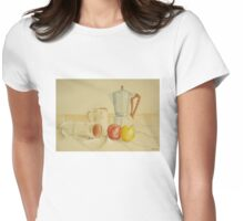 Still life with coffee cups and apples Womens Fitted T-Shirt