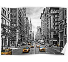 URBAN MANHATTAN 5th Avenue Taxis Poster