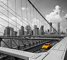 Yellow Cab & Brooklyn Bridge by Melanie Viola