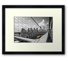Yellow Cab & Brooklyn Bridge Framed Print