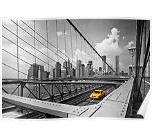 Yellow Cab & Brooklyn Bridge Poster