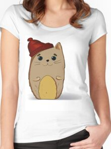 Cat in the red cap Women's Fitted Scoop T-Shirt