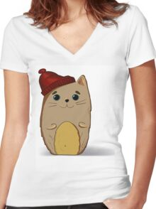 Cat in the red cap Women's Fitted V-Neck T-Shirt