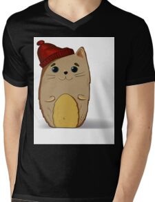 Cat in the red cap Mens V-Neck T-Shirt