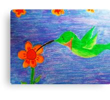 Hummingbird and the Angel Trumpets. Canvas Print