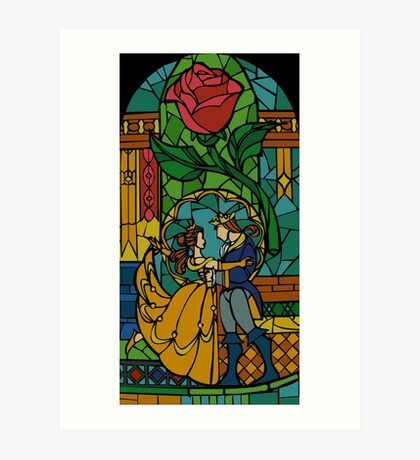 Beauty and The Beast - Stained Glass Art Print