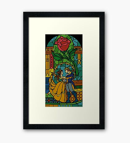 Beauty and The Beast - Stained Glass Framed Print