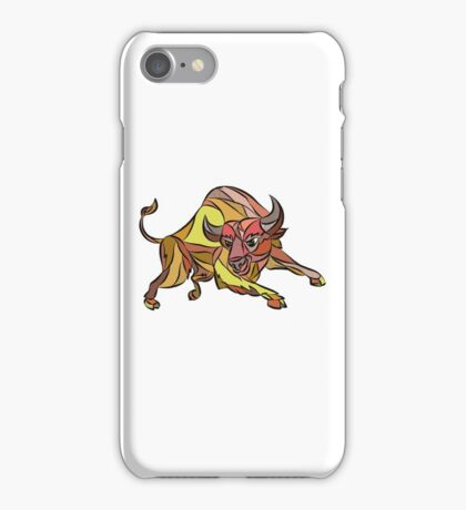 Raging Bull Charging Drawing iPhone Case/Skin
