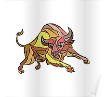 Raging Bull Charging Drawing Poster