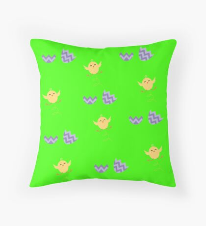 cute hatching chick eggs Throw Pillow