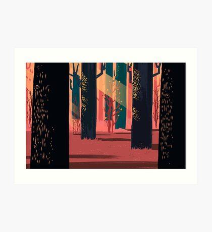Flat Stamp Forest Art Print