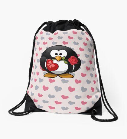 Cute Valentine Penguin Drawstring Bag