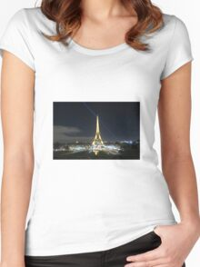 Eiffel Tower at Night Women's Fitted Scoop T-Shirt