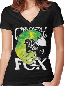 Crazy Like A Fox - Acidsplash Women's Fitted V-Neck T-Shirt